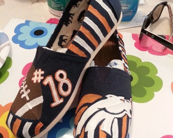 BRONCOS themed CUSTOM handpainted TOMS