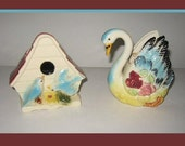 2 Vintage Ceramic Wall Pocket Planters Vases Birdhouse Swan Matching Colors Birds Flowers