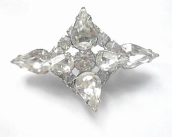 Vintage Rhinestone Brooch Bridal Wedding jewelry Icy Clear