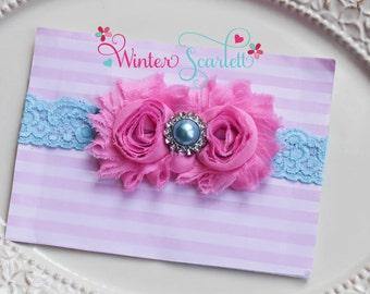 Baby headband, pink and aqua headband, baby headbands, newborn headband, baby bow headband