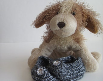 Crochet Baby Booties - Platinum Pewter Gray with Crystal Look Buttons -  6 to 9 Months