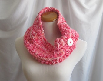 Neckwarmer Cowl Chunky Bulky Crochet:  Shades of Pink with White Button