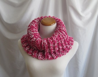 Cowl Chunky Bulky Crochet Cowl:  Magenta Hot Pink & White