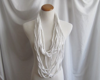 Infinity Crochet Scarf Cowl Cotton Necklace -  Bright White