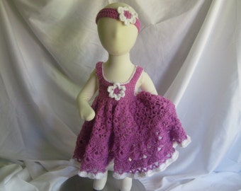 Baby Dress and Headband - Frilly and Full in Mauve Pink - Newborn Up to 3 Months