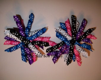The Hair Bow Factory Multi Color Swiss Dot Korker Hair Bows Set of 2