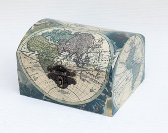 Jewelry storage Wooden Decoupage Box Blue Map of the World Decoupage Jewelry Box Memory box Jewelry Holder  Decorative Box Keepsake box