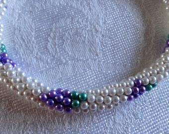 Necklace crocheted seed bead long rope white with purple and green grape clusters