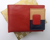 Vintage Buxton Unisex Leather Wallet - Orange, Tan & Navy Blue - In Box