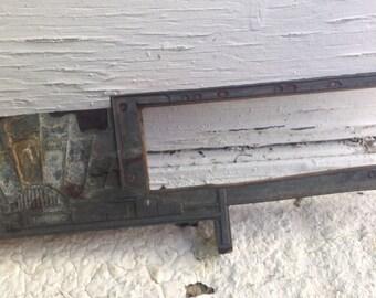 Vintage Letterpress Printing Block set in Wood - Flags Design - Vintage Supply / Vintage Home Decor