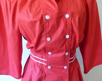 Vintage 20s style Red Dress / Nautical Sailor Fit and Flare Edwardian Titanic style Preppy School Girl / Full Skirt Button Down / S