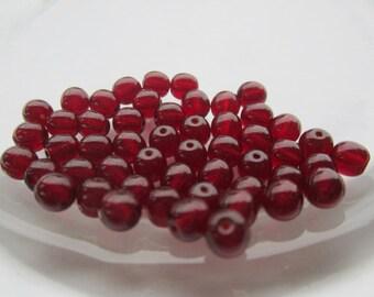 6mm Preciosa Garnet  Czech Glass Beads 50Pcs.
