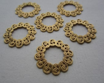 Round BrassFiligree Stampings With Open Centers 21mm 6Pcs.