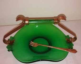 Fancy Green Glass and Gold Serving Dish With Fork