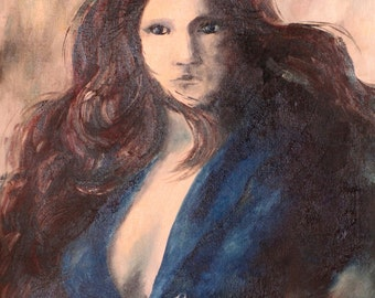 Blue girl  an oil painting