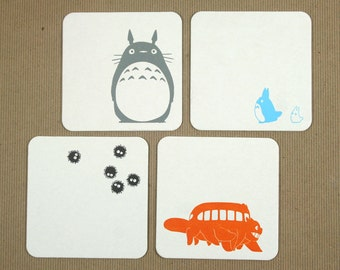 Totoro Letterpress Coasters - Set of 4