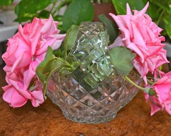 Crystal Diamond Cross Hatch Cut Glass Basket
