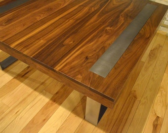 Modern Solid Walnut and steel coffee table with steel metal inlay