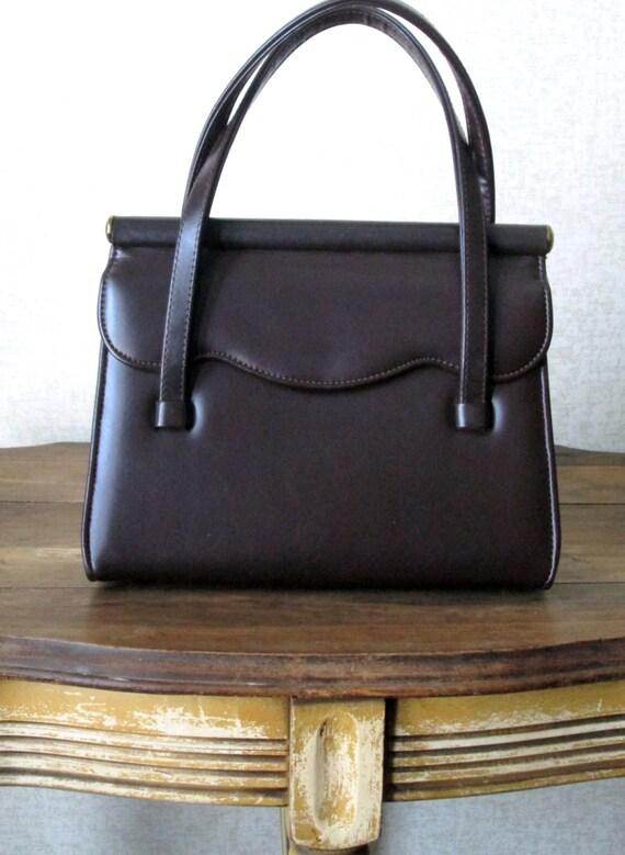 RESERVED for Malinda .......Vintage 60s Handbag , dark chocolate brown, Mad Men style, kelly bag, faux leather, vegan purse, Kadin