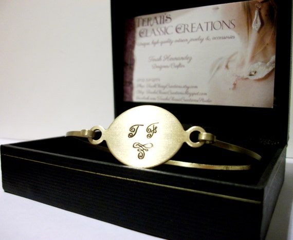 Personalized Metal Monogram Bracelet/Bangle in Gold or Silver Tones.  Woman's Gift.