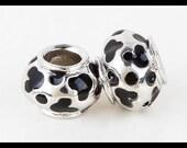DISNeY - MiCKEY MoUSE - BLaCK Enamel EaRS & Round SPoTS - 18KGP- GREaT Quality - 18KGP Charm Bead - fits European Bracelets - ME-2509-A