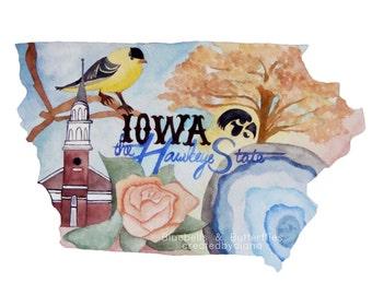 Iowa, the Hawkeye State, Art Print