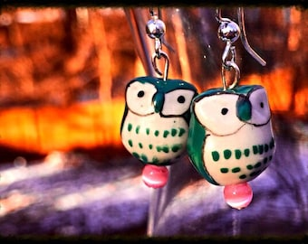 Owl Earrings, Porcelain Owl Earrings, Owl Beads, Beaded Owl Earrings