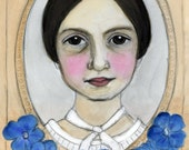Emily Dickinson Literary Portrait, American Poet Art Print(6x8) Writers Illustration