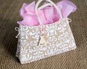 Burlap Bridesmaid Gift Tote Bag Rustic Wedding Decor PERSONALIZED Wood Heart Charm