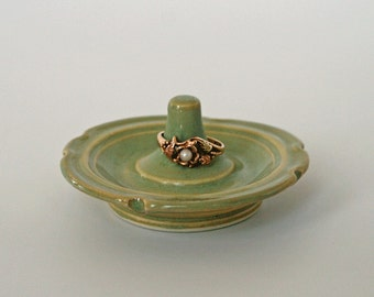 Jade Green Pottery Ring Dish