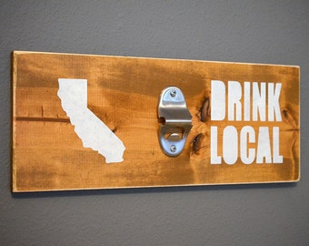 Drink Local Beer Bottle Opener Wall Mounted