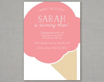 Big Ice Cream Cone Birthday Invitation -- Any Color