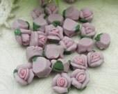 15pcs Rose Ceramic 6mm Purple/Pink Centre(FCN-20R)