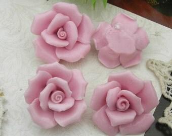 4 pcs  ( 23mm ) Ceramic Rose Flower 23mm,Pink