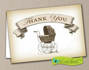 Baby Shower Thank You Card, Folded Notecard A1 Size, Blank Card, Vintage Baby Carriage Neutral, Printable Digital File by Event Printables