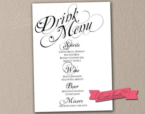 wedding drink menu template free - items similar to printable drink menu card diy wedding