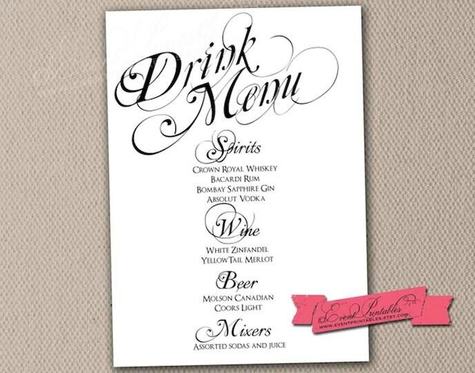 Printable Drink Menu Card DIY Wedding Reception by EventPrintables