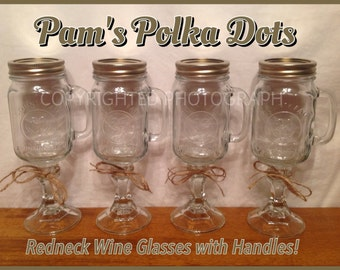 Hillbilly REDNECK WINE GLASS with Handles Mason Jar Pint Plain with No Personalization as seen on Duck Dynasty