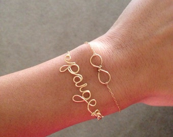 Dainty Personalized Bracelet: 14k rose-gold, yellow-gold, or sterling silver
