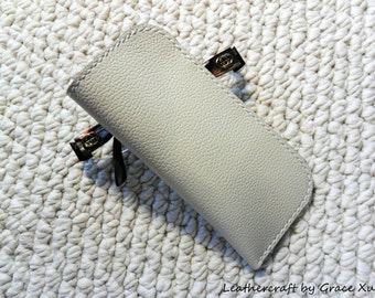 100% handmade hand stitched ivory white cowhide leather eyeglasses case / holder