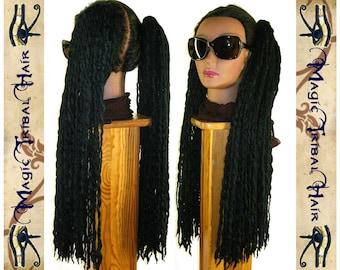 "Black DREAD FALLS 2 dreads ponytails 140 dreadlocks 24"" extension R'n'B Reggae Hip Hop Goth steampunk Reenactment hair falls Tribal Fusion"
