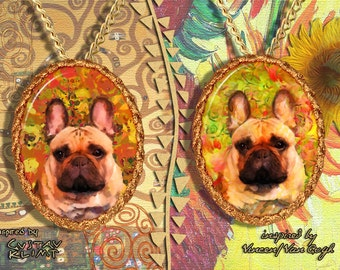 French Bulldog Jewelry Pendant - Brooch Handcrafted Porcelain by Nobility Dogs - Gustav Klimt and Van Gogh