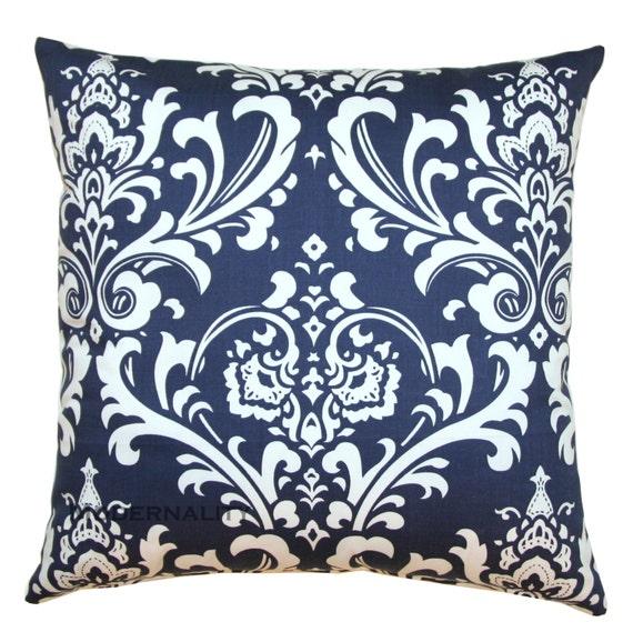 Toss Pillows, Ozborne Navy Blue Pillow Cover, Navy Blue Pillow Sham, Zippered Pillow, Damask Pillow Decor, Blue Cushion Cover, Throw Pillows