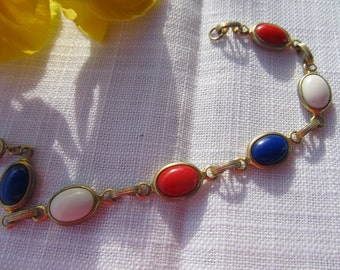 Red, White and Blue Cab Link Bracelet -FREE SHIPPING