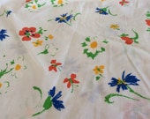 Floral Flat Twin Sheet -  Fabric - Daisies - Quilting - Girls Room - Green - Farmhouse - Floral Blue Orange Yellow - Butterflies