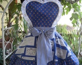 French Provencal Country Blue Hostess Apron