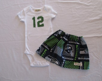 Seahawks -  12th Man Onesie and Skirt