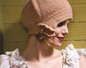 Mohair Cloche Hat embellished with  gemstones