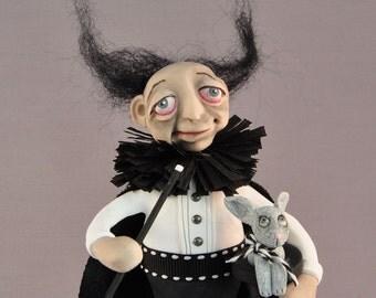 OOAK Zombie Magician Halloween Art Doll