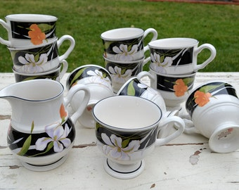 Large Floral Tea Set Retro Art Deco mugs with Pitcher - 12 Piece Black and White Teacup